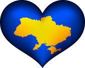Ukrajina srdce — Stock vektor