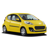 Hyper realistic yellow car illustration — Stock Vector