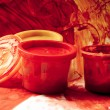 Royalty-Free Stock Photo: Stylized photo of the paint`s buckets on the painted background