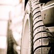 Stylized photo of the car's details. Wheel — 图库照片 #12551012