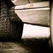 Stylized photo of the car's details. Wheel — Stok fotoğraf