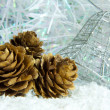 Golden pine cones on a white snowy background — Stock Photo