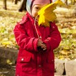 Baby hold autumn leaf — Stock Photo