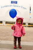VIENNA - OCTOBER 26: Little girl at the European Space Expo at t — Stock Photo