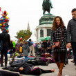 VIENNA - OCTOBER 26: Flash mob demonstration on the celebration — Stock Photo