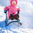 Little girl in winter outdoors — Stock Photo