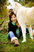 Girl and her best friend big white dog Alabai — Stock Photo