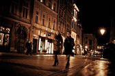 Stylized photo of the city's old street in the night — Stock Photo