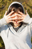 Desperate woman with hands in the face — Stock Photo