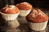 Muffins on a dark background — Stock Photo