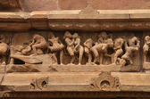 Carvings on Temple walls at Khajuraho AD 930-950 — Zdjęcie stockowe
