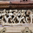 Carvings on temple walls at Khajuraho — Stock Photo
