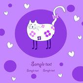 Amusing white cat — Stock Vector