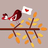 Bird love card — Stock Vector