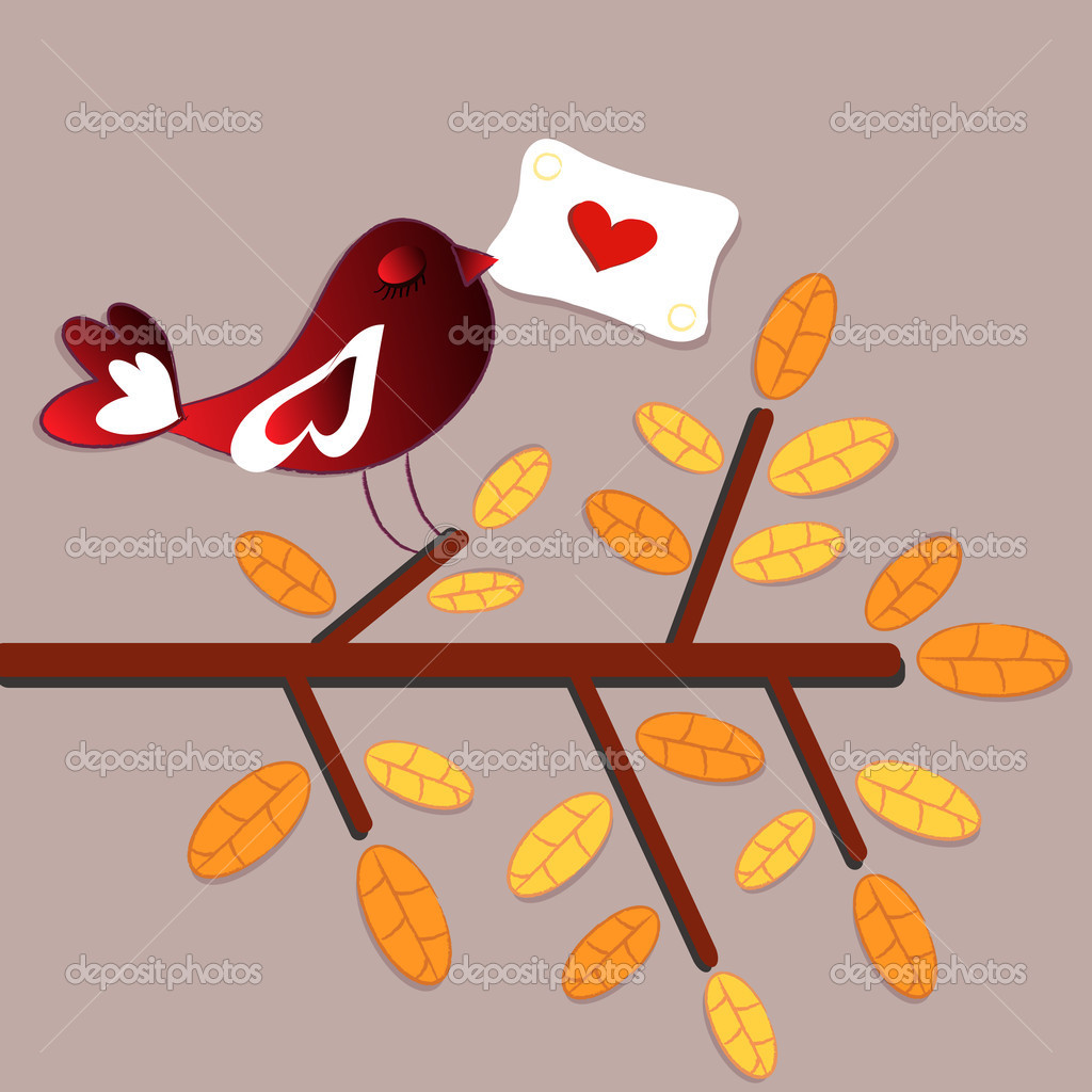 Bird love card  — Image vectorielle #12313304
