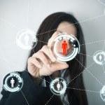 Social network on futuristic screen — Stock Photo