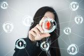 Sociální síť na futuristické obrazovce — Stock fotografie