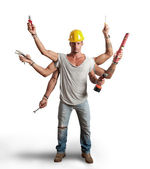 Multitasking worker conept — Stock Photo