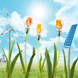 Solar panel and wind energy - Stock Photo