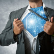 Stock Photo: Technology super hero