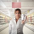 Supermarket question - Stock Photo