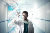 Doctor and touch screen — Stock Photo