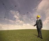Proyecto de energía de la turbina de viento — Foto de Stock