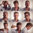 Multiple expression of a businessman - Foto Stock