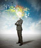 Biznesmen i ciekawy pomysł — Zdjęcie stockowe