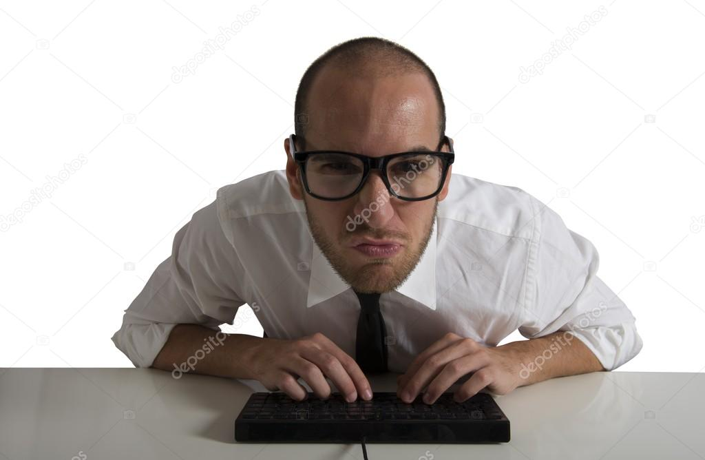 Businessman works with the computer — Stock Photo #19118881