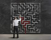 Finding the solution of maze — Stockfoto