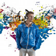 Boy and music note splashing — Stock Photo