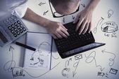 Multitasking businessman at work — Stock Photo