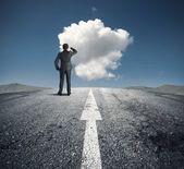 Obchodník sleduje správná cesta — Stock fotografie