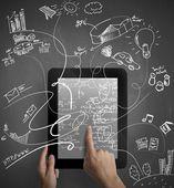 Multitastking tablet — Stock Photo