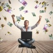 Stock Photo: Money rain concept of success