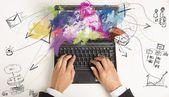 Multitasking businesswoman at work — Stock Photo