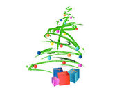 ボールとプレゼントでクリスマス ツリーの抽象的な背景 — ストックベクタ