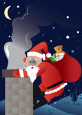 Santa Claus with smoke of fireplace in face! — Stock Vector