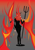 Devil girl with flame background — Stock Vector