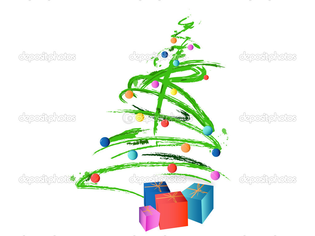 Abstract Christmas Tree Background With Balls And Presents