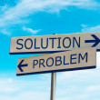 Stock Photo: Arrow direction of problem and solution