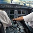Pilot on airplane — Stock Photo