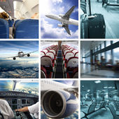 Business airport collage — Stock Photo