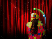 Red curtain of stage with stars and juggler clown — Stock Photo
