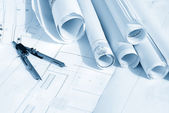 Plan drawing in blue tone — Stock Photo