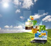 Multimedia laptop — Stock Photo