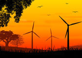 Wind turbine on sundown — Stock Photo