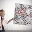 Stock Photo: Solution for the maze
