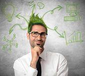 Ciekawy pomysł biznesmena — Zdjęcie stockowe